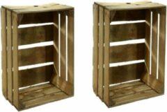 Bruine Merkloos / Sans marque 2x Gebruikte houten fruitkisten 30 x 40 x 50 cm - Decoratie voor huis en tuin