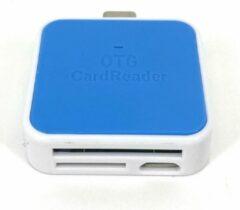 OTG-Smart USB-C Cardreader SD kaart Blauw - Android Cardreader - Mico SD kaart geheugenkaartlezer - Klein Compact Formaat - Met Extra Micro USB aansluiting - Leest en schrijft SD Kaart en/of Micro SD (Hoge Capaciteit)