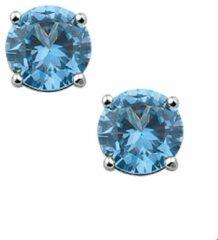 Huiscollectie TFT Oorknoppen Zirkonia blauw topaas/aqua Zilver Gerhodineerd Glanzend 6mm