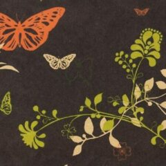 ROTIM Inpakpapier Bruin + vlinders en bloemen 30cm x 200mtr Inpakpapier 30cm x 200mtr serie 105