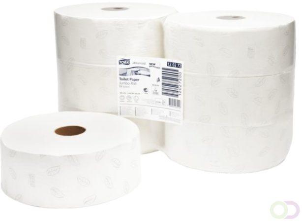 Afbeelding van Tork Advanced toiletpapier jumbo 2-lgs wit 360 mtr x 10 cm pak à 6 rol (120272)