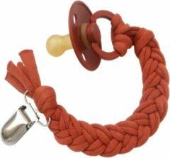 Rode BiBS fopspeen + LOVEissue Speenkoord gevlochten katoen | Rust T1 | 0 t/m 6 mnd