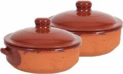 Merkloos / Sans marque 2x Stenen ovenschalen met deksel bruin 24 cm - Terracotta ovenschalen/braadpannen - pannetjes voor 1 persoon
