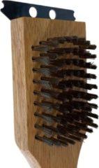 Bruine Orange85 Barbecue schoonmaak borstel hout met schraper - Barbecueaccessoires - Barbecuereiniging