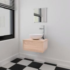 VidaXL Set 4 Mobili per bagno con lavandino con rubinetto beige