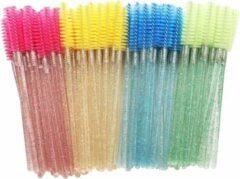 HMQ beauty Wegwerp Wimper en Wenkbrauw Borsteltjes - Mascara Borsteltjes - Mixed colors met glitter - Zwart, Roze, Geel, Blauw, Roseo, Groen) - 6X50 stuks