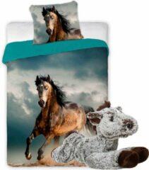Faro Paarden dekbedovertrek set 140 x 200 cm, incl. super zachte paarden knuffel - 32 cm - bruin/donkerbruin - kinderen slaapkamer - eenpersoons dekbed