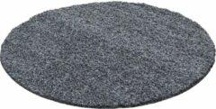 Decor24-AY Hoogpolig vloerkleed Life - grijs - rond - O 120 cm