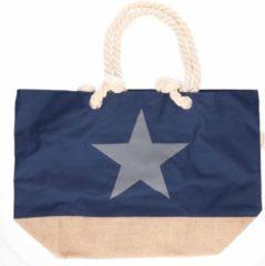 Merkloos / Sans marque Marine blauwe strandtas met grijze ster 55 cm - Strandtassen/schoudertassen - Shoppers/zomer tassen