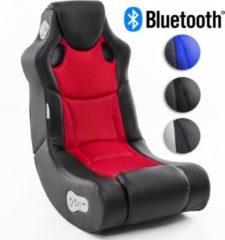 Wohnling BOOSTER Soundsessel 2.1 mit Bluetooth Gaming Multimedia Rocking Chair Music Rocker Soundchair Multimediasessel Schwarz Rot