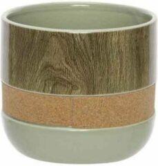 Cosy @ Home FLOWERPOT CORK - WOOD groen 16,5XH14,4CM ROUND DOLOMITE