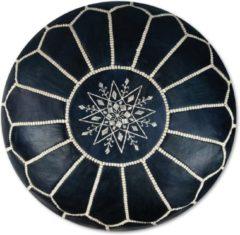 Leren Poef - donkerblauw - Handgemaakt en stijlvol - Gevuld geleverd - Poufs&Pillows