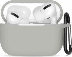 JVS Products Apple Airpods Pro ultra dunne siliconen cover - Hoesje - extra dunne Apple Airpods siliconen cover met sleutelhanger - Grijs