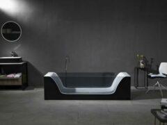 Mawialux vrijstaand bad | Solid surface | 200x65 cm |Wit - zwart | ML-113-VBMG-WZ