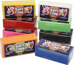 Creotime Soft Clay, afm 13x6x4 cm, kleuren assorti, 8x500 gr
