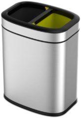 Roestvrijstalen EKO OLI-Cube Open Top Prullenbak - 10+10 l - Mat RVS - voor afvalscheiding