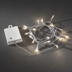 Witte Konstsmide 3728 - Snoerverlichting - 80 lamps micro LED - 790 cm - 6u en 9u timer - transp kabel - op batterij - voor buiten - warmwit