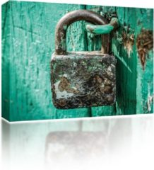 Blauwe Sound Art - Canvas + Bluetooth Speaker Rusty Lock (41 x 51cm)