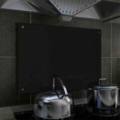 VidaXL Spatscherm keuken 70x50 cm gehard glas zwart