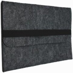 Donkergrijze Shop4 - MacBook 15-inch Pro (2017) Hoes - Sleeve Wolvilt Donker Grijs