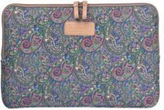 Blauwe Lisen – Laptop Sleeve met Paisley print tot 15 inch – Groen/Roze