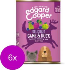 Edgard & Cooper Wild & Eend Blik - Voor volwassen honden - Hondenvoer - 6 x 400g