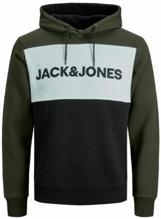 Afbeelding van Groene JACK & JONES Colourblocking Logo Hoodie Heren Green