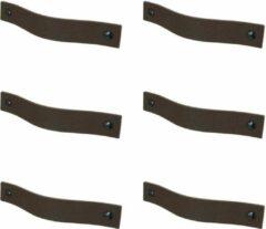 Handles and more Leren handgrepen /Platte greep - 6 stuks - DONKERBRUIN - maat L (22,2 x 2,5 cm) - incl. 3 kleuren schroefjes