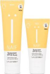 Naïf zon voordeelset volwassen zonnebrandcrème duo gezicht + lichaam factor 30