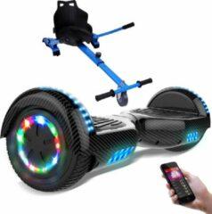 Evercross 6.5 inch Hoverboard met Flits Wielen + TAOTAO moederbord, Elektrische Zelfbalancerende Scooter,Bluetooth Speaker,LED verlichting - Koolzwart + Hoverkart Blauw