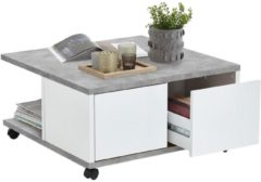 FD Furniture Vierkante salontafel Twin 70x36x70 breed in grijs beton met wit