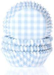 Blauwe House of Marie Mini Cupcake Vormpjes Ruit Pastel Blauw - pk/60