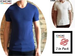 Blauwe DICE Underwear DICE 2-pack heren T-shirt V-hals blauw+wit in maat M