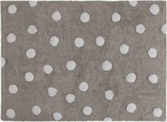 Antraciet-grijze Lorena Canals Vloerkleed Grijs/Witte Stippen - 160x120 cm