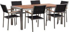 Beliani Tuinset eucalyptushout 180 x 90 cm met 6 stoelen zwart GROSSETO