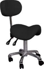 MEGA BEAUTY SHOP® Zadelkruk met rugleuning - Zwart- Salonkruk- Verstelbaar -Met Rugleuning- Salon kruk met rugleuning -Hydraulische