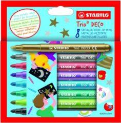 STABILO Trio DECO - Metallic Viltstift - Met Extra Dikke Punt 3,0 mm - Etui Met 8 Kleuren