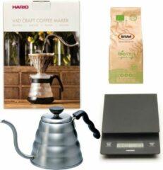 Hario V60 slow coffee kit + Hario V60 Weegschaal + Hario V60 Waterketel 1.2 liter + Bristot BIO 100% biologische koffie