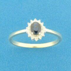Blauwe Quickjewels huiscollectie Bicolor Gouden Ring saffier en diamant 0.10ct H SI 4208172 17.75 mm (56)