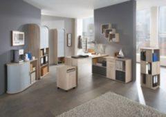 Büromöbel Set Eiche Nachbildung mit Schreibtischkombination und Rolladenschränken FMD Profi/ Tower/ Fibi/ Laurenz/ Lexow