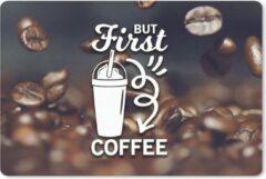 MousePadParadise Muismat Koffie Quotes 2 - Koffie quote 'But first koffie' op een achtergrond met koffiebonen muismat rubber - 60x40 cm - Muismat met foto