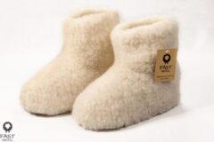Fast wool Wollen sloffen - laars model - ecru - maat 42