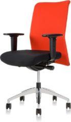 24Designs Bureaustoel Barcelona - Stof Zwart/Rood Netwave - Aluminium Gepolijst Voetenkruis