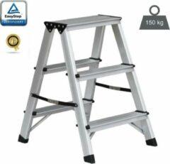EasyStep Huishoudtrap - Dubbel - 2x3 treden - Aluminium - Lichtgewicht - Werktrap