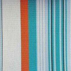 Acrisol Turqueta Quirofano T4 gestreept, lichtblauw, wit, oranje stof per meter buitenstoffen, tuinkussens, palletkussens