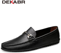Bambino DEKABR Brand Fashion Soft Split Leather Breathable Men's Shoes Slip-on Mocassins Men Loafers Anti-skid Driving Casual Shoes Men
