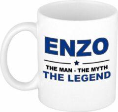 Bellatio Decorations Naam cadeau Enzo - The man, The myth the legend koffie mok / beker 300 ml - naam/namen mokken - Cadeau voor o.a verjaardag/ vaderdag/ pensioen/ geslaagd/ bedankt