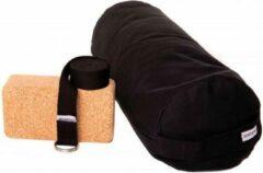 Zenzes PRO bolster met yogariem en yogablok - zwart
