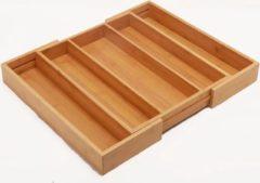 Decopatent® Uitschuifbare bestekbak 3 Vaks -> Uitschuifbaar naar 5 Vakken - Keukenla Bestek organizer bamboe hout - Bestekcassette