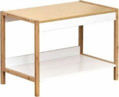 Bruine Gebor Design Bijzettafel met Bamboeframe en bovenzijde + 1 mdf plank - Nuovo - 43x60x34cm - Tafel - Woonkamer - Meubel - Slaapkamer